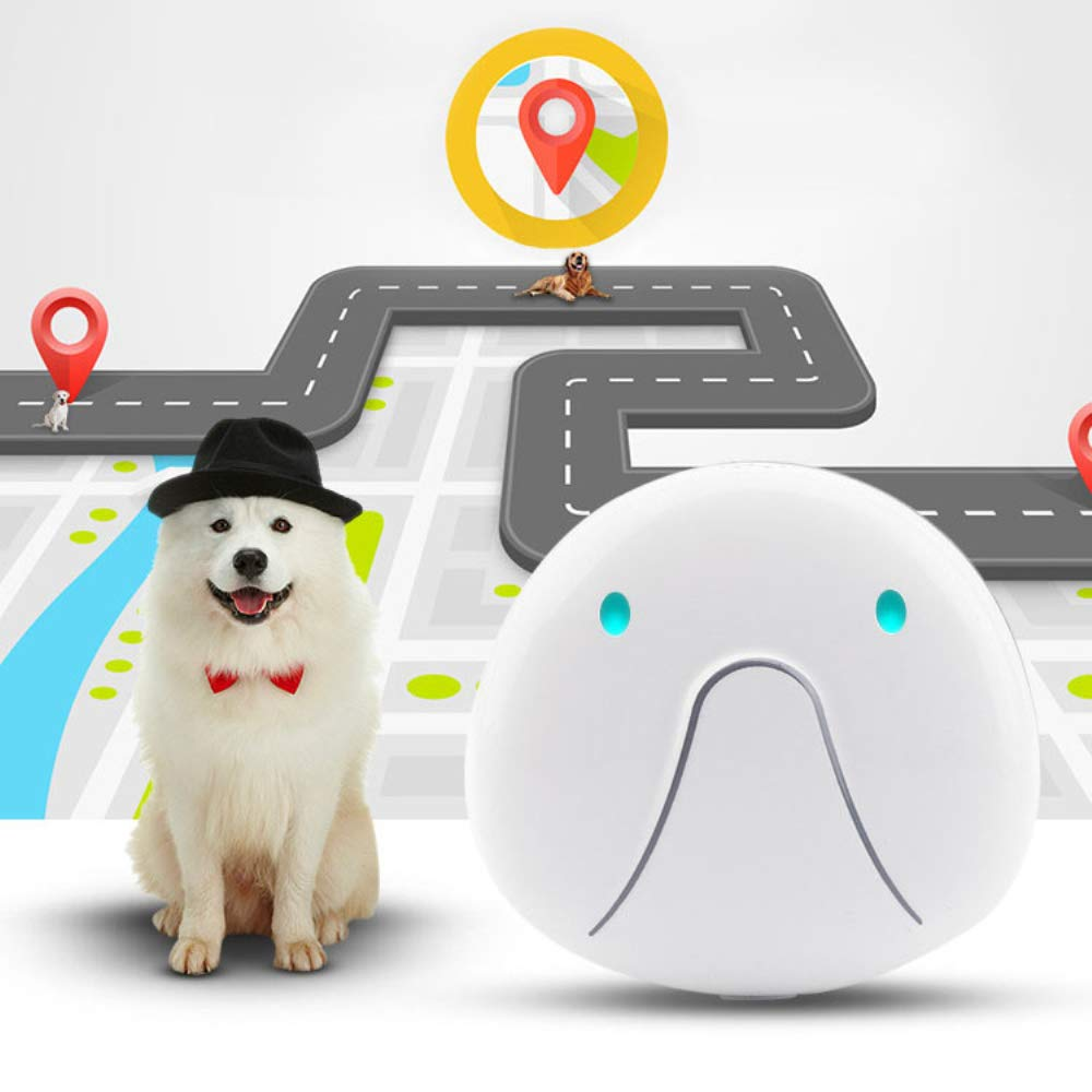 HUAXING Pet GPS Tracker,500 Mah Electricity Standby for 120 Hours Lightweight and Waterproof,for Dogs/Cats/Pets,White