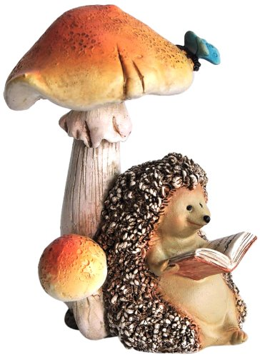 Top Collection Miniature Fairy Garden and Terrarium Hedgehog Reading Book Under Mushroom (Garden Figurine)