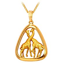 U7 Gold Plated Sweet Giraffes Pendant Chain Couple Necklace Romantic Valentine Gift African Jewelry