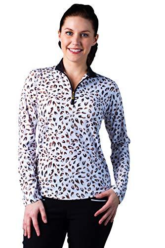 (SanSoleil Women's SolCool UV 50 Long Sleeve Mock Top - Medium - Bobcat Tan)