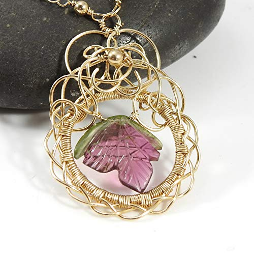 Pink Tourmaline Floral Design - Gold Blossom Necklace - 14k Gold Fill Tourmaline and Carved Watermelon Tourmaline