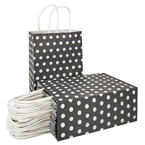 Black Polka Dot Favor - 25 PCS Gift Bags Black Kraft Paper Bags with Handles and White Dots for Kid's Birthday Wedding Holiday Party Supplies by ADIDO EVA (8.2 x 6 x 3.1 in)