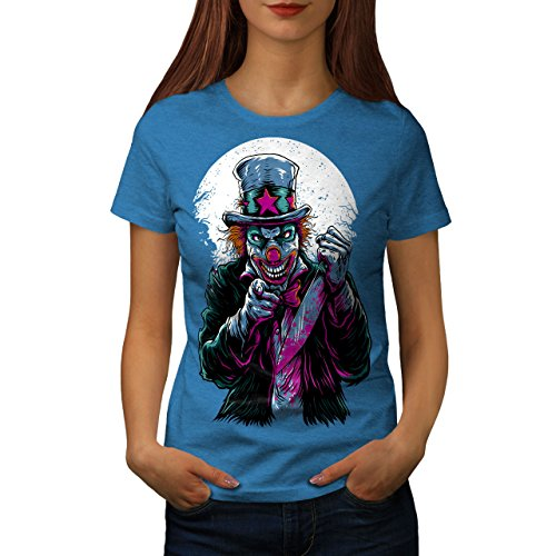 wellcoda Clow Evil Scary Horror Womens T-Shirt, Casual Design Printed Tee Royal Blue M