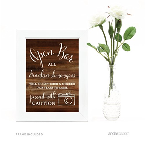 Andaz Press Wedding Framed Party Signs, Rustic Wood Print, 5x7-inch, Open Bar All Drunken Shenanigans Will be Captured and Mocked For Years to Come Proceed with Caution Sign, 1-Pack, Includes Frame]()