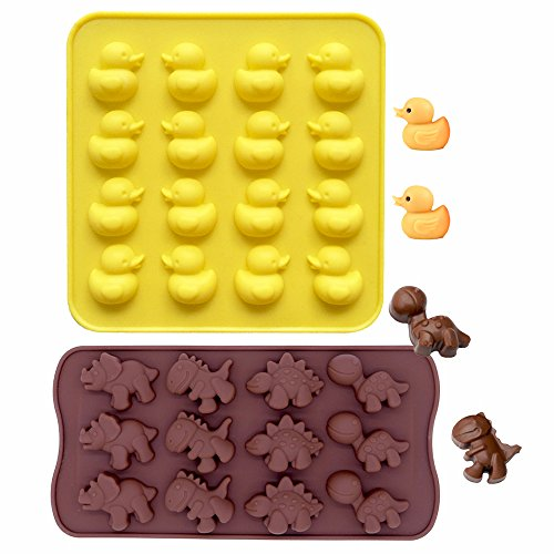 Duck Silicone - IHUIXINHE Food Grade Silicone Non-Stick Ice Cube Mold, Jelly, Biscuits, Chocolate, Candy, Cupcake Baking Mould, Muffin Pan (Duck & Dinosaur 2PCS)