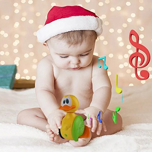 Cute Rolling Electric Duck Toy Roly Poly Baby Kid Toy Duck Musical Instrument Duck Electric Educational Toy