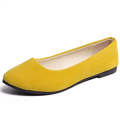77498741b60 Women s Classic Pointy Toe Slip On Solid Flats Shoes Cute Comfortable  Ballet Shoes Apricot Yellow 4