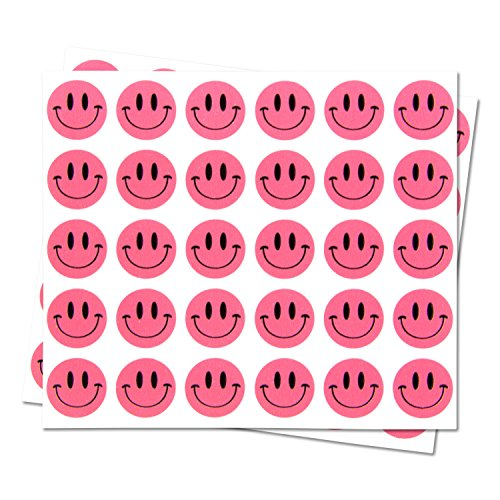 Happy Face Smiley Face Labels Round Self Adhesive Circle Stickers (Pink Black / .5) - 300 labels per package