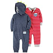 Carter's Baby Boys' 2-Pack One Piece Romper, Red Stripe/Navy Dino, 3 Months