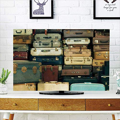 Antique Map Leather - MIGAGA LCD TV dust Premium Cover Strong Durability,Vintage,Colorful Vintage Suitcase Antique Leather Decorative Travel Gift Map Nostalgia,Brown Cream Green,Picture Print Compatible 50