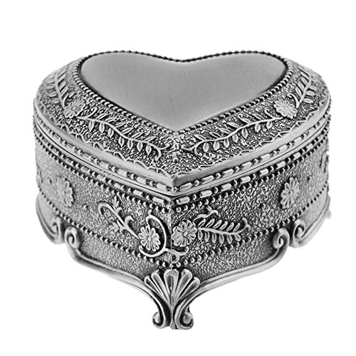 ACTLATI Antique Metal Classic Retro Vintage Engraved Olive Branch Heart Shaped Trinket Box Treasure Chest Storage Organizer Decorative