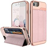 iPhone 7 Wallet Case,iPhone 8 Wallet Case,BSlvwg [Military Grade Drop Protection] Flip Leather Cover ID&Credit Card Slots Holder Magnetic Lock Stand for iPhone 7 and iPhone 8 - Rose gold