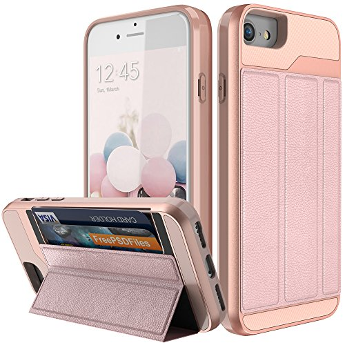 iPhone 7 Wallet Case,iPhone 8 Wallet Case,BSlvwg [Military Grade Drop Protection] Flip Leather Cover ID&Credit Card Slots Holder Magnetic Lock Stand for iPhone 7 and iPhone 8 - Rose gold by BSlvwg