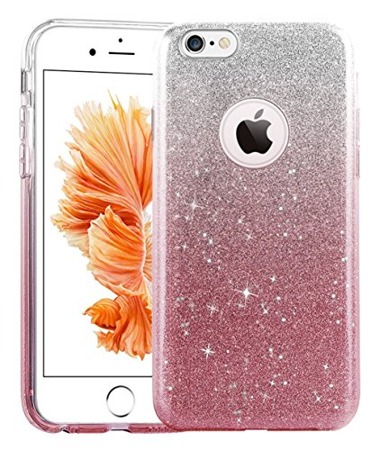 iPhone 6s Plus Case, UnnFiko Cute Luxury Hybrid Bling Glitter Soft Rubber Gel Shiny Sparkling with Candy Back Plate Cover Case for iPhone 6s Plus (5.5) (Pink)