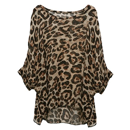 Rokou Women Chiffon Blouse Floral Batwing Sleeve Beach Loose Tunic Shirt Tops (Color1)