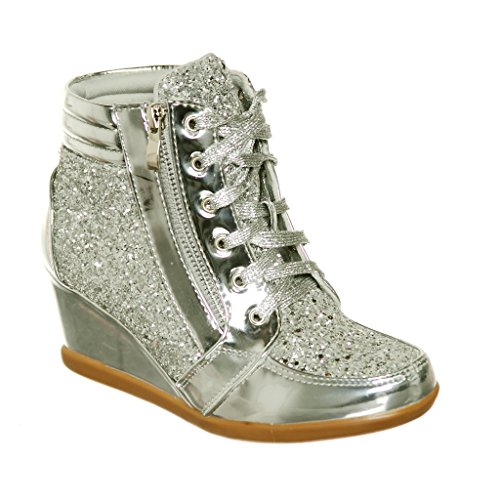Silver Women Sneakers (shoewhatever Women's Metallic Glitter High Top Lace Up Wedges Heels Fashion Sneakers (Silver, 8))