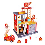 USA Toyz Fire Station Playset and Fire Truck - Premium Doll Houses Series 22 Piece Wooden Fire Station Playset
