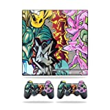 MightySkins Protective Vinyl Skin Decal Cover for Sony Playstation 3 PS3 Slim skins + 2 Controller skins Sticker Graffiti WildStyle