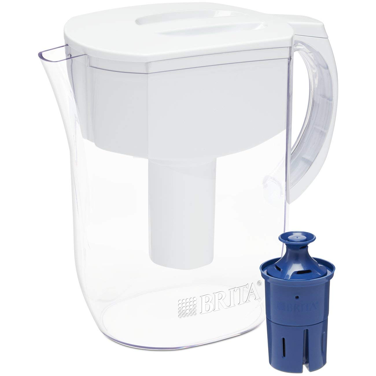 Brita Pitchers 060258355093 Brita Water Pitcher with 1 Longlast Filter, BPA Free-Everyday, Large 10 Cup, White