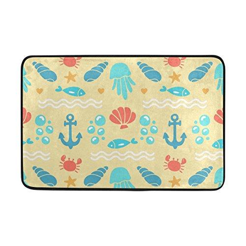 Vantaso Not Slip Doormats Rugs Red Crab Blue Fish Shell Soft Foam Printing for Living Room Kids Bedroom Bathroom Door Mats 23.6x15.7 inch (Shell Season Crab Soft)