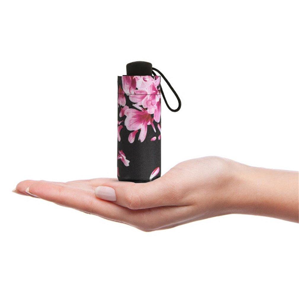 Guoke Compact Mini Vinyl Umbrellas Sunscreen Anti-Uv Light Pocket Fold Umbrella Of Fine White - Flower by Guoke (Image #3)
