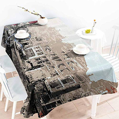 - Homrkey Easy Care Tablecloth Retro Old Fashion Paintbrush Style with Amsterdam Street and Tulip Bouquet Murky Picture Multicolor Excellent Durability W40 xL60