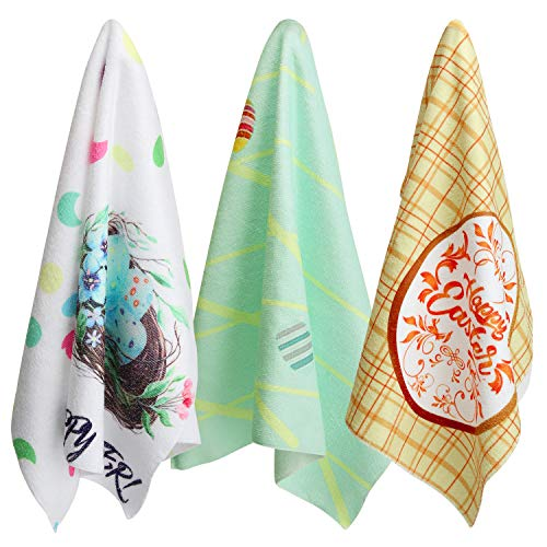(3 Pack Easter Holiday Dish Towels, Easter Eggs Dish Cloths Oversized Kitchen Hand Towels Perfect Home Kitchen Dinner Party Bathroom Cleaning Towels 20x28 Inches)