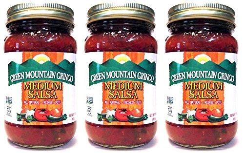 Green Mountain Gringo All Natural Salsas: Medium (Pack of 3) 16 oz Jars
