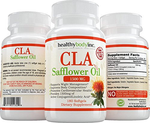 CLA 1500mg Safflower Oil Supplement, Supports Healthy Weight Management, Non-stimulating, Active Conjugated Linoleic Acid, 180 Capsules by Healthy Body