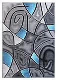 Cheap Masada Rugs, Modern Contemporary Area Rug, Blue Grey Black (5 Feet X 7 Feet)