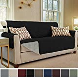 Gorilla Grip Original Slip Resistant Sofa Slipcover Protector, Seat Width Up to 70 Inch Suede-Like, Patent Pending, 2 Inch Straps, Hook, Couch Cover for Kids, Dogs, Pets, Sofa, Jet Black