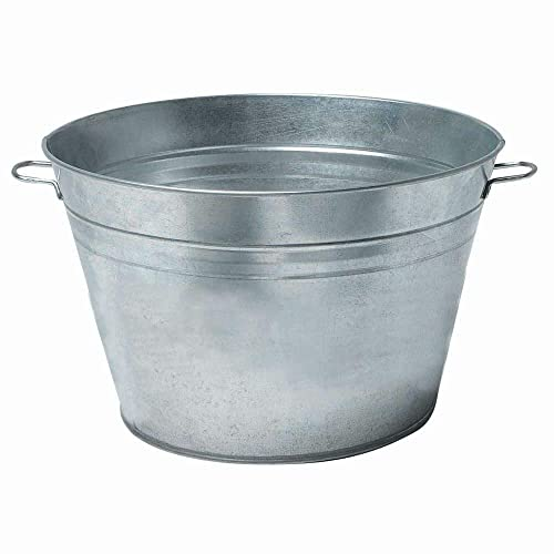 Beverage Tub with Handles Galvanized Metal 18 Round 9 Gallon
