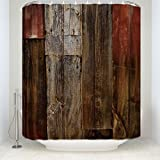 EZON-CH Customize Waterproof Modern Simple Decorative Rustic Old Barn Wood Art Print Polyester Fabric Bathroom Shower Curtain£¨66IN X 72IN