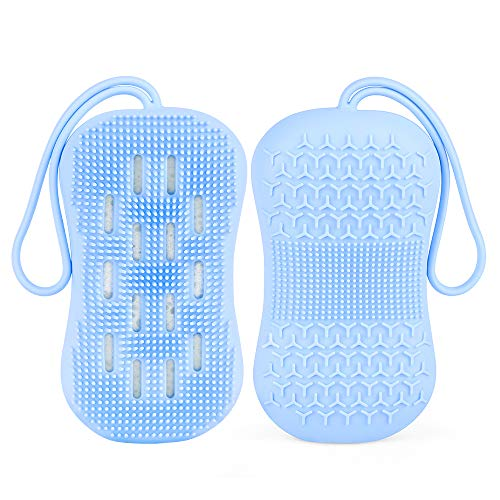 Hatsutec Silicone Shower Body Scrubber Bath Brush with Natural Sponge, Double-Sided for Dry and Wet Brushing, Gentle Exfoliation and Deep Cleanse for Smooth Soft Skin, Lathers Well (Blue)