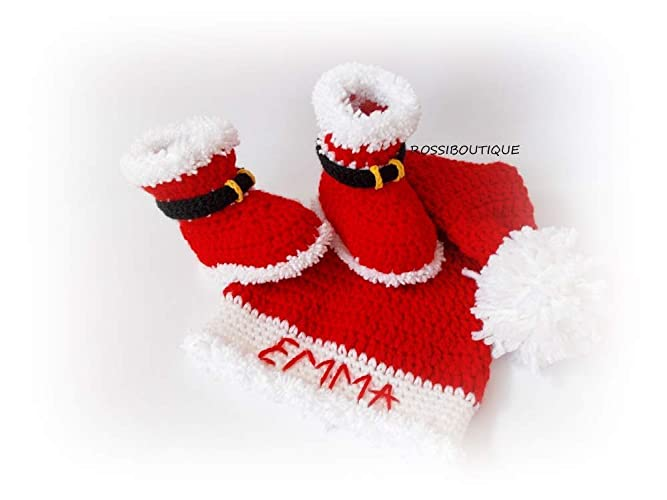 Amazon.com  Personalized Santa baby hat Christmas baby hat boots  Handmade ee795f60622