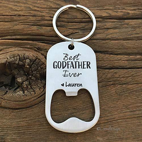 Best Ever Bottle Opener Keychain- Gift Idea For Him Men's Gift For The Beer Lover Godfather For Uncle Husband Stepdad Boyfriend Beer Bottle