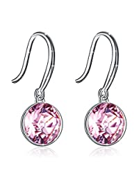 "J.Rosée Dangle Earrings, Women Pale Pink Crystals 925 Sterling Silver Fish Hook Earrings ""Little Angel"" Gift Packed"