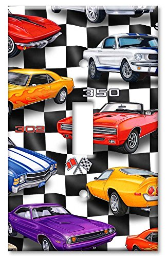 Single Gang Toggle Wall Plate - Muscle Cars