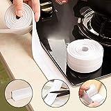 Silicone Stove Counter Gap Cover Caulk Strip Waterproof Tape Sealing Tape Caulk Sealer Anti-mildew Wall Trimmer Protection Corner Sealing Strip Easy Clean Gap Filler Sealing Spills (White) Width 3.8cm