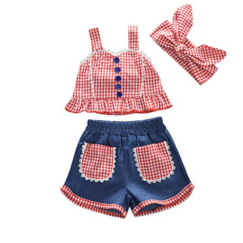 Toddler Baby Girls Outfits Clothes Set Plaid Halter