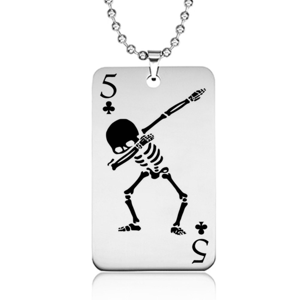 Aubess 2018 Stainless Playing Card Necklace Gift for Men- Skull Necklace Tag Personality Necklace Decoration