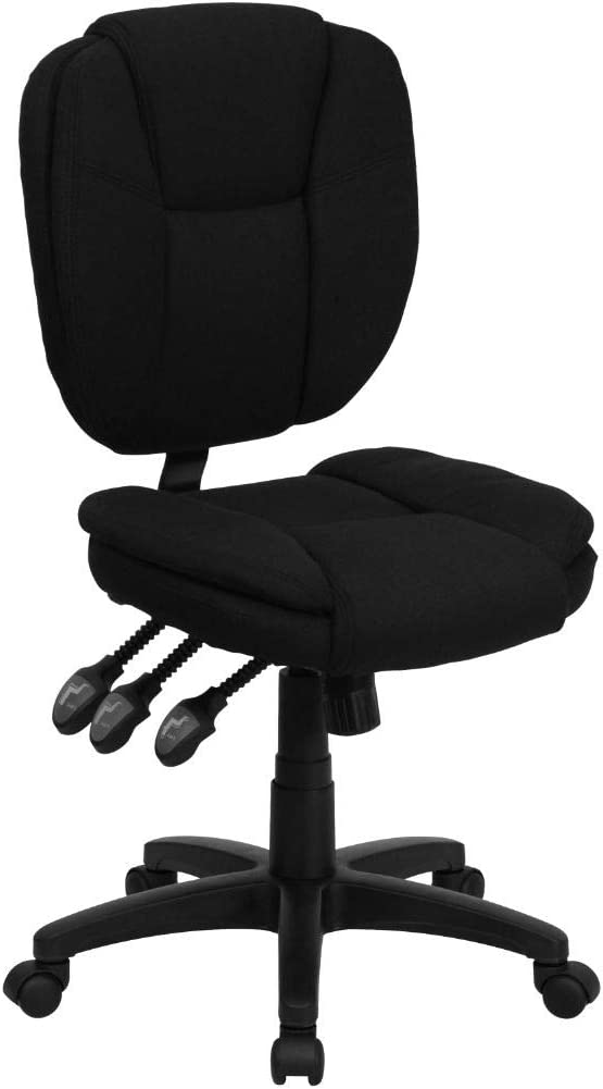 Flash Furniture Mid-Back Black Fabric Multifunction Swivel Ergonomic Task Office Chair with Pillow Top Cushioning
