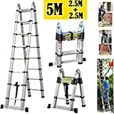 ZanGe Aluminium Telescopic Ladder 5M (2.5M+2.5M), A-Frame Step Extension Portable Ladders For Outdoor Indoor Home Loft Office