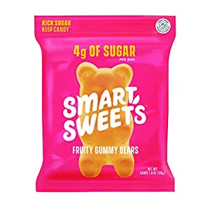 SmartSweets Fruity Gummy Bears, Candy with Low Sugar (4g), Low Calorie, Free From Sugar Alcohols, No Artificial Colors or Sweeteners, 1.8 oz. (Pack of 12)