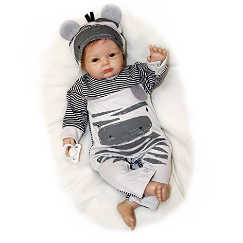 Pursue Baby Soft Floppy Body Real Life Reborn Baby Doll Curly Hair Jacob, 20 Inch Realistic Weighted Newborn Baby Infant Doll with Pacifier by Pursue Baby