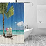 DONEECKL Polyester Shower Curtain Seaside Decor Relaxing Scene on Remote Beach with Palm