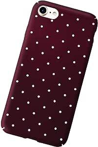 Polka Dot Pattern Hard PC Matte Back Slim Case Cover iPhone 7 - Wine Red