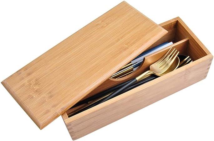 Caja de almacenamiento de cubiertos: caja de almacenamiento de vajilla de madera, partición extraíble, madera de bambú original, saludable y ecológica para la familia, la cocina y el restaurante.: Amazon.es: Hogar