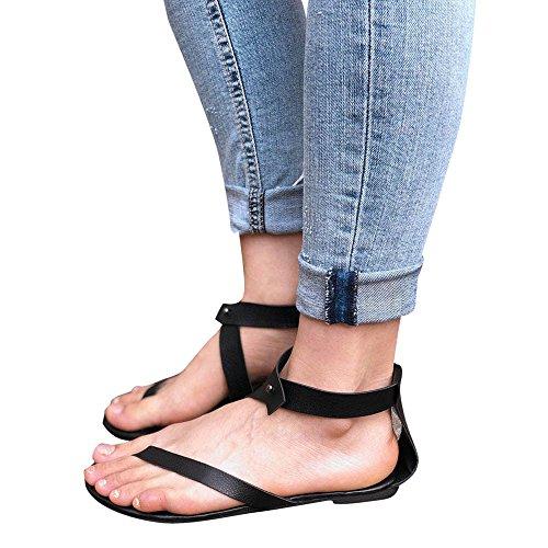Pincer Dresslksnf Été Sandales Confortable Simple Chaussures Cuir Bout Plates Noir Tongs Chaussons Ouvert Femme En Plage drrXTqw