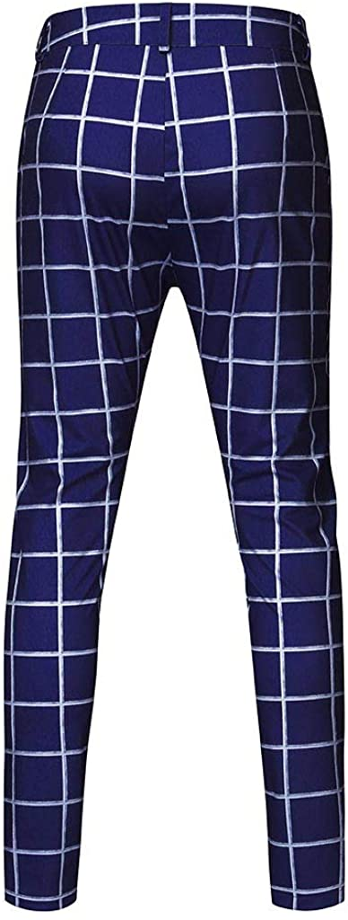 Pantalon Homme /à Carreaux Slim Fit Business Plaid Imprim/é Pantalon de Costume Mariage Affaires Youngii